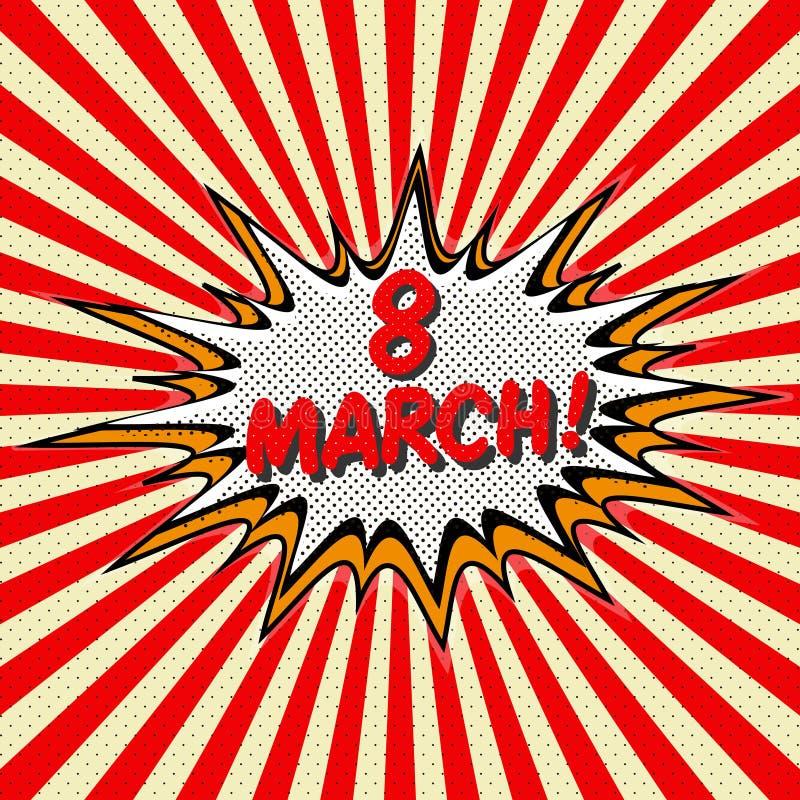 Félicitation avec le jour international du ` s de femmes le 8 mars dans le style de l'art de bruit illustration de vecteur
