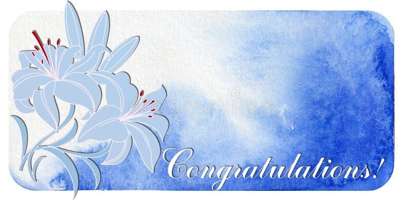 Félicitations Carte postale avec des lis illustration de vecteur