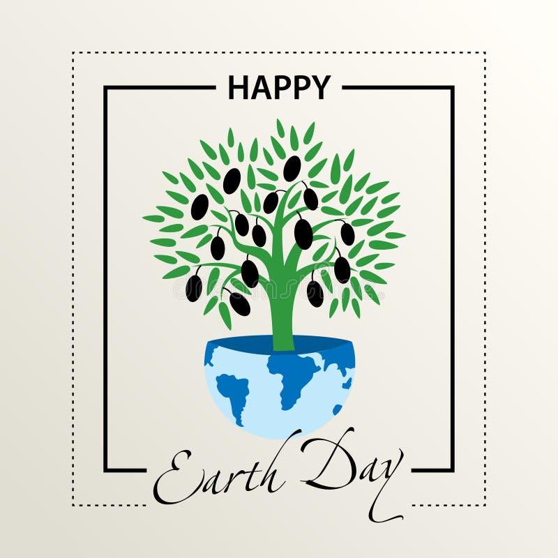 Félicitations de carte postale le jour de la terre L'olivier se développe sur la terre illustration libre de droits
