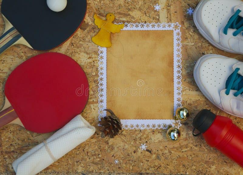 Félicitations de vacances d'hiver pour le joueur de ping-pong image stock