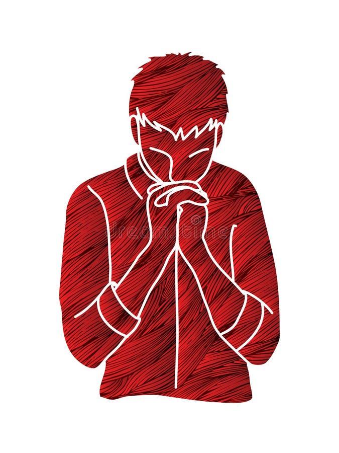 Félicitez Dieu, prière, prière chrétienne, merci un DIEU illustration de vecteur