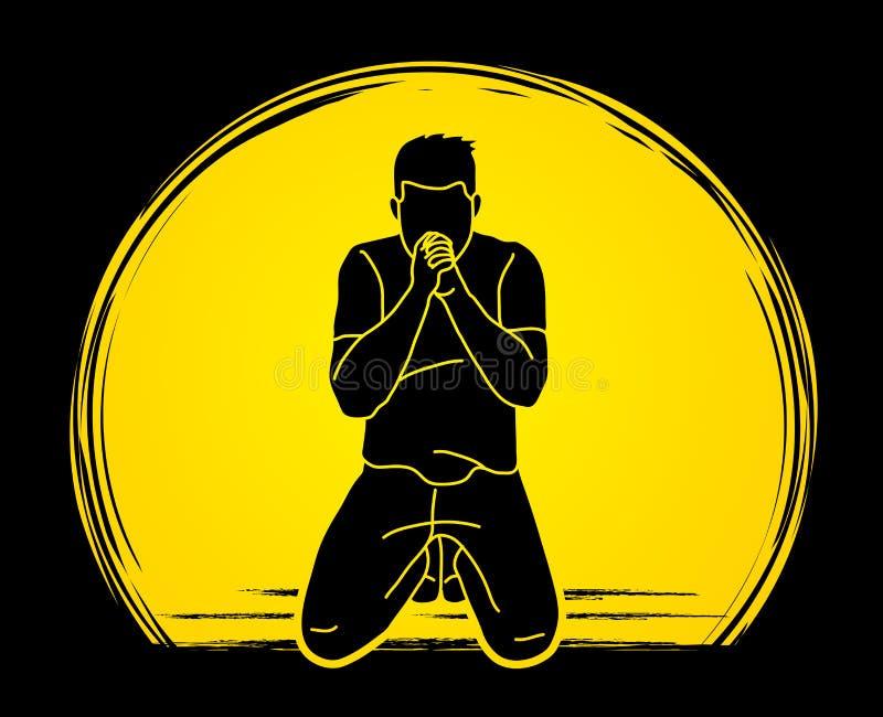 Félicitez Dieu, prière, prière chrétienne, merci un DIEU illustration stock
