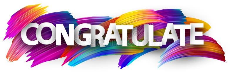 Félicitez la bannière avec les courses colorées de brosse illustration de vecteur
