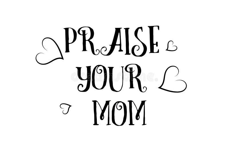 félicitez votre conception d'affiche de carte de voeux de logo de citation d'amour de maman illustration stock