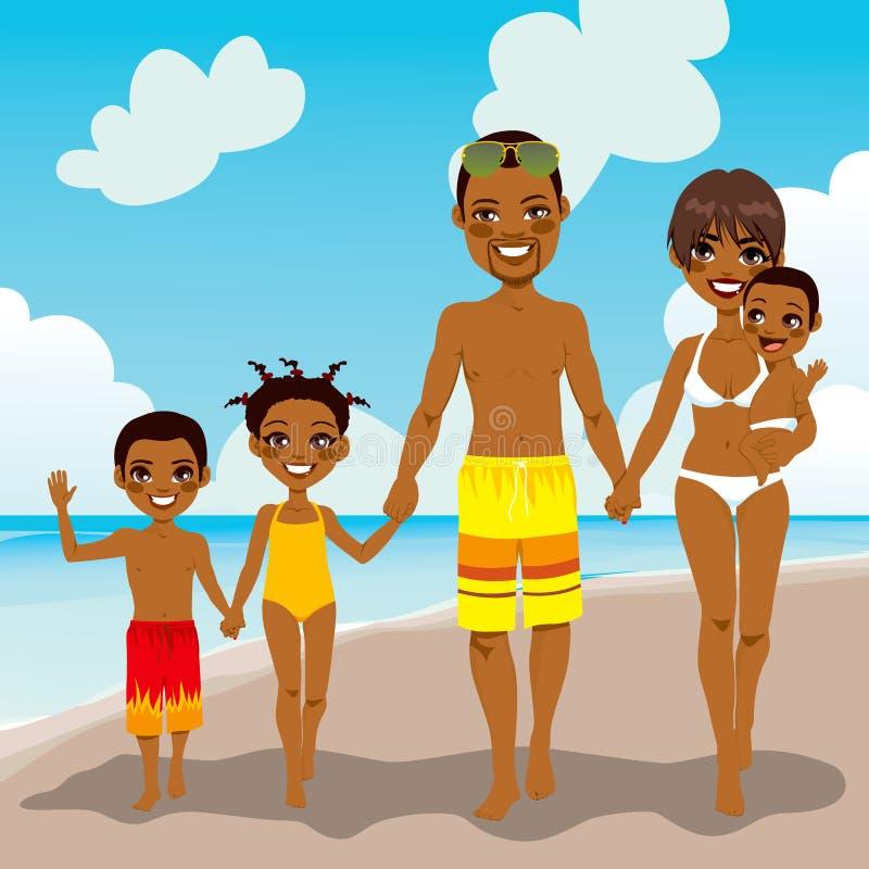 Férias afro-americanos da praia da família ilustração do vetor