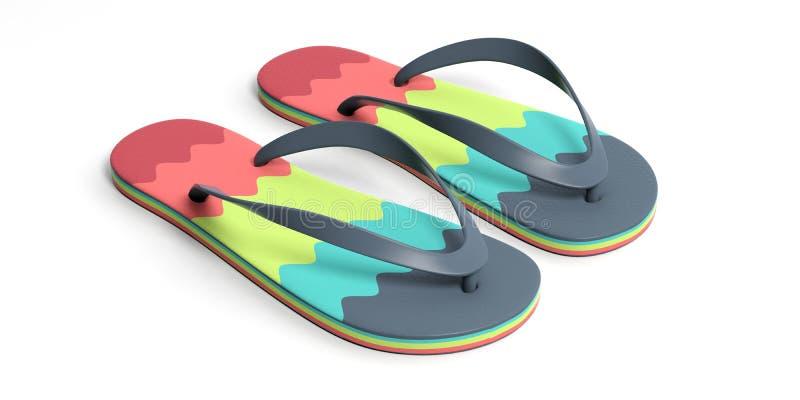 Férias da praia do verão Falhanços de aleta coloridos isolados no fundo branco ilustração 3D ilustração stock