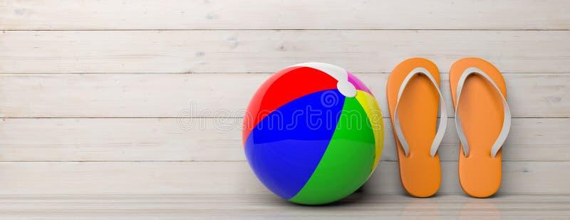 Férias da praia do verão Falhanços de aleta e bola de praia no fundo de madeira, bandeira, espaço da cópia ilustração 3D ilustração do vetor