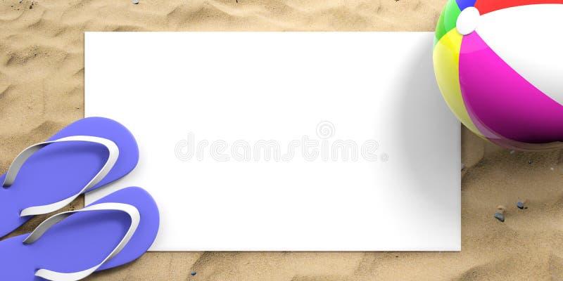 Férias da praia do verão Falhanços de aleta e bola de praia no Sandy Beach, Livro Branco vazio, espaço da cópia, vista superior i ilustração stock