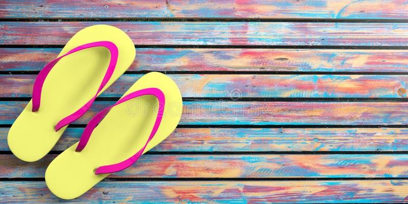 Férias da praia do verão Falhanços de aleta no fundo de madeira colorido, vista superior, espaço da cópia ilustração 3D ilustração royalty free