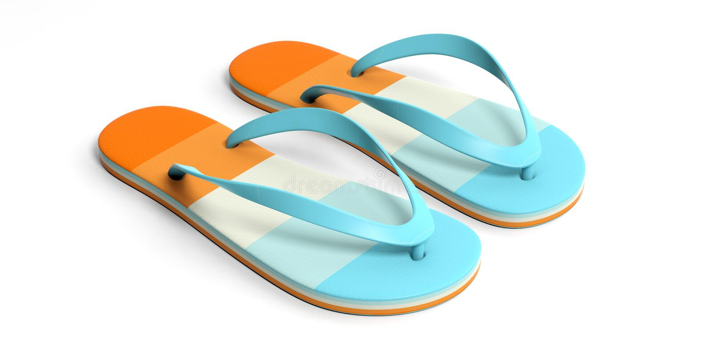 Férias da praia do verão Falhanços de aleta pasteis isolados no fundo branco ilustração 3D ilustração stock