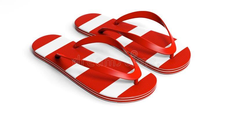 Férias da praia do verão Falhanços de aleta vermelhos isolados no fundo branco ilustração 3D ilustração do vetor