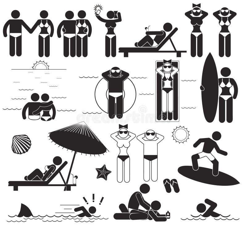 Férias da praia do verão Pictograma ajustados da vara do vetor e férias dos símbolos no mar ilustração do vetor