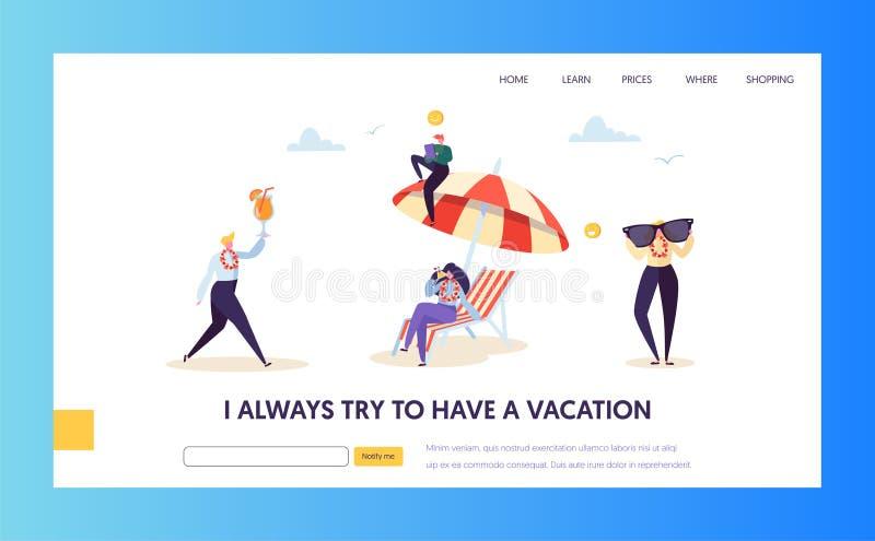 Férias da praia para os caráteres da empresa que aterram a página Gestor de escritório feliz Relax com cocktail tropical ilustração stock