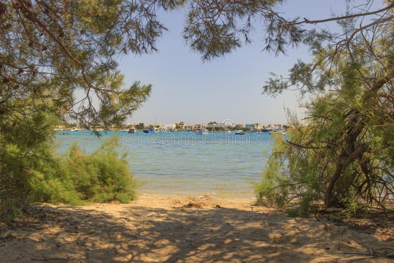 Férias de verão Costa Ionian de Salento: Porto Cesareo Lecce - ITÁLIA Apulia - imagem de stock