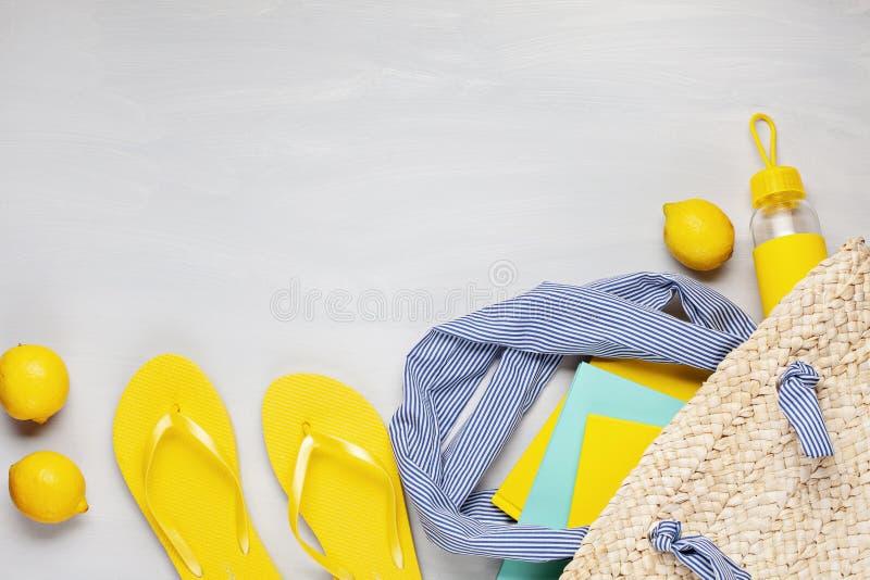 Férias de verão, curso, configuração lisa do conceito do turismo fotografia de stock