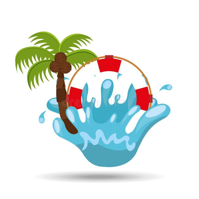 Férias de verão da palma do respingo da água da boia de vida ilustração stock