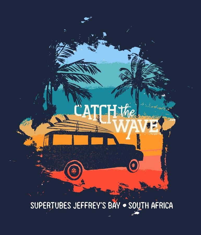 Férias de verão da ressaca na praia de África do Sul com carro ilustração royalty free