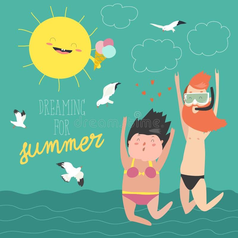 Férias de verão do divertimento Os pares de jovens, de homem e de mulher estão saltando no fundo do mar ilustração stock