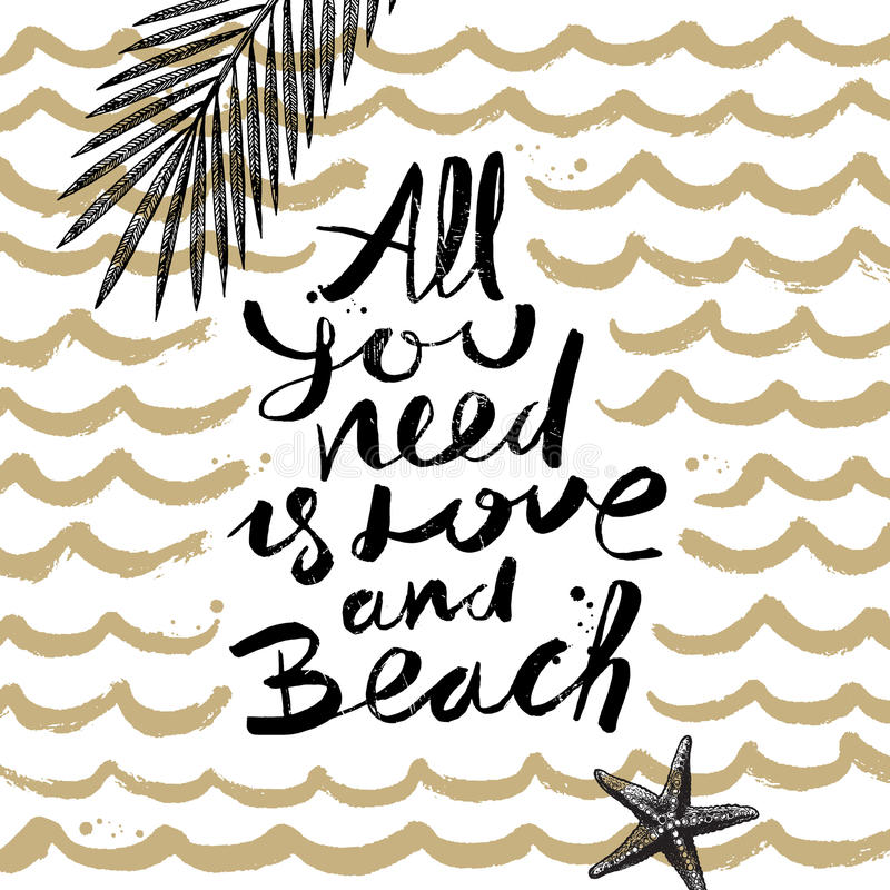 Férias de verão e ilustração tirada mão das férias ilustração stock