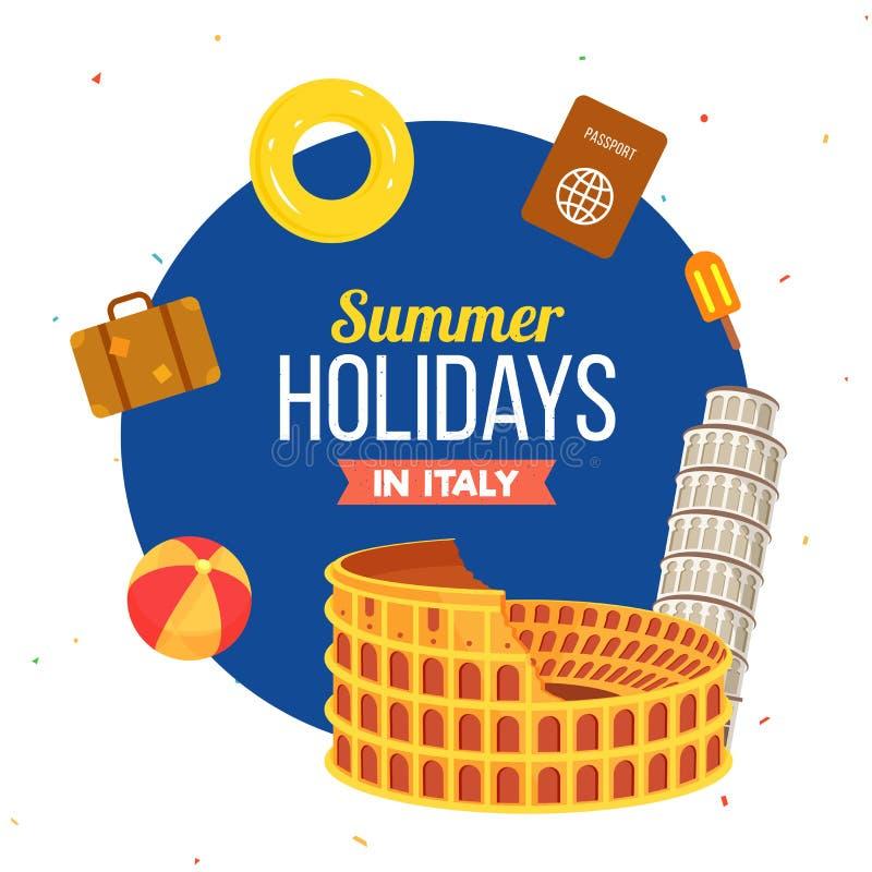 Férias de verão em Itália, no cartaz, na bandeira ou no inseto com Colosseum ilustração stock