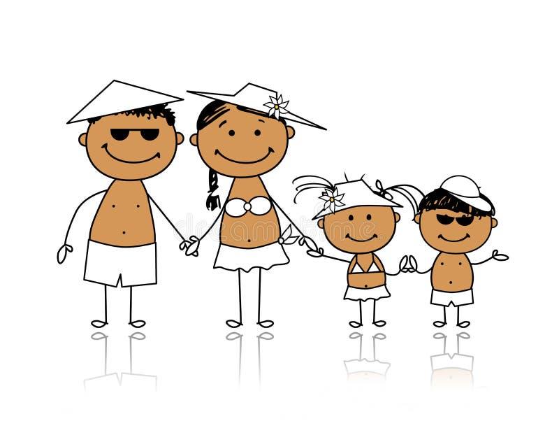 Férias de verão. Família feliz para seu projeto ilustração stock