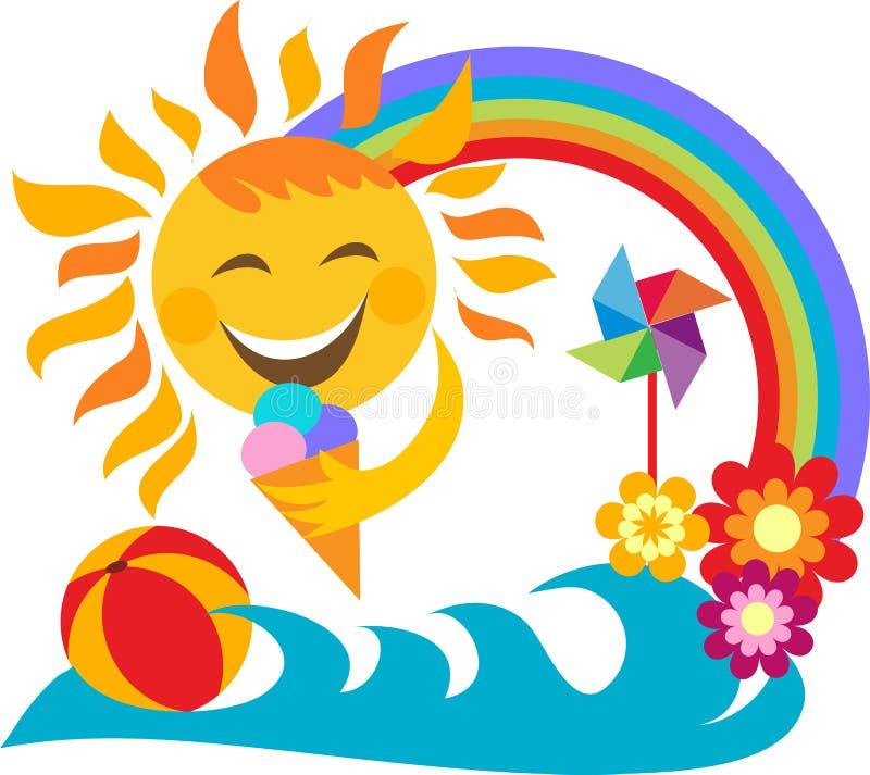 Férias de verão; gelado feliz da terra arrendada do sol ilustração do vetor