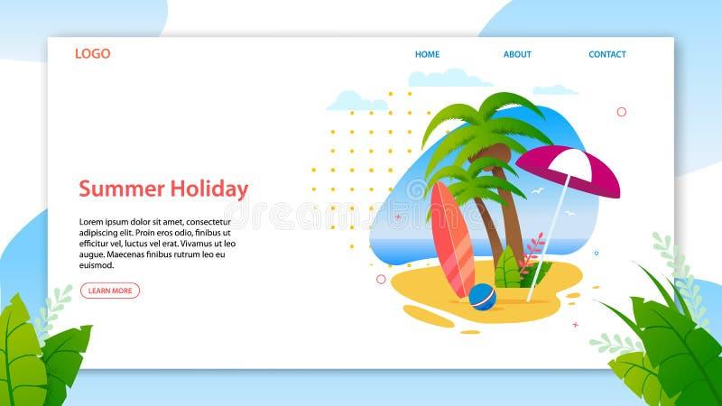 Férias de verão na página tropical da aterrissagem da ilha ilustração stock