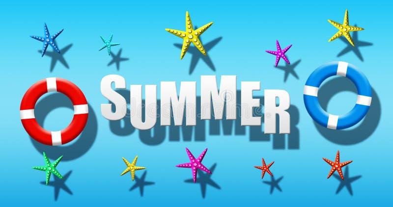 Férias de verão na piscina com a máscara, as aletas e a estrela do mar do mergulhador flutuando em uma superfície da água azul ilustração royalty free