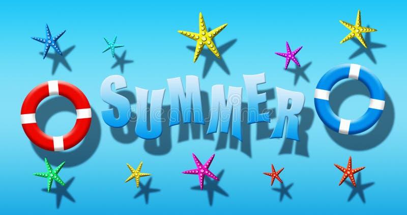 Férias de verão na piscina com a máscara, as aletas e a estrela do mar do mergulhador flutuando em uma superfície da água azul ilustração stock