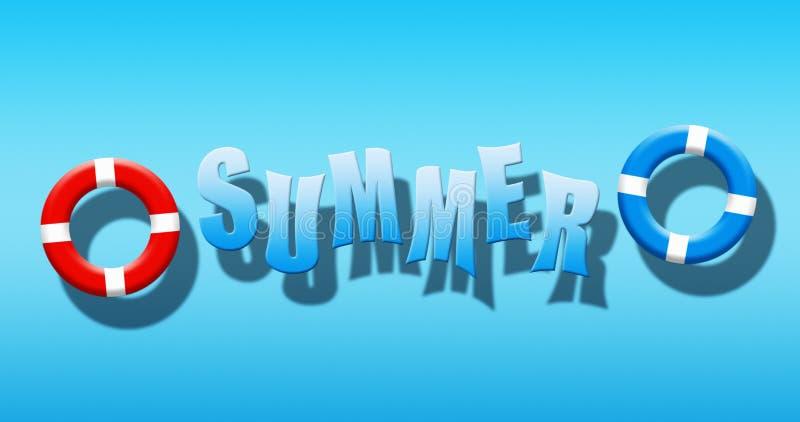 Férias de verão na piscina com a máscara, as aletas e a estrela do mar do mergulhador flutuando em uma superfície da água azul ilustração do vetor