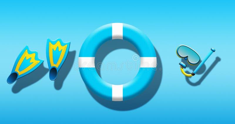 Férias de verão na piscina com máscara do mergulhador, aletas e segurança Ring Floating On uma superfície da água azul ilustração royalty free