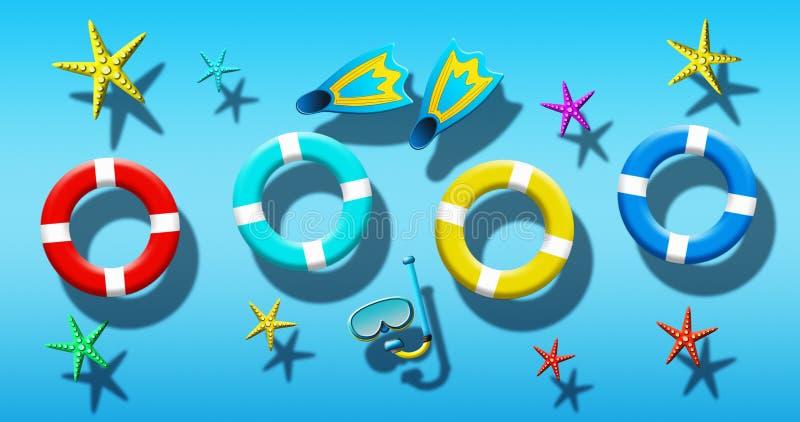Férias de verão na piscina com a máscara do mergulhador, as aletas, os anéis da segurança e a estrela do mar flutuando em uma sup ilustração royalty free