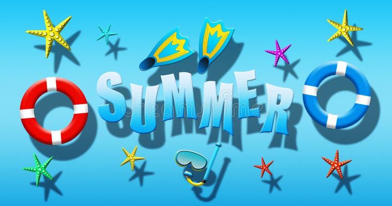Férias de verão na piscina com a máscara do mergulhador, as aletas, os anéis da segurança e a estrela do mar flutuando em uma sup ilustração do vetor