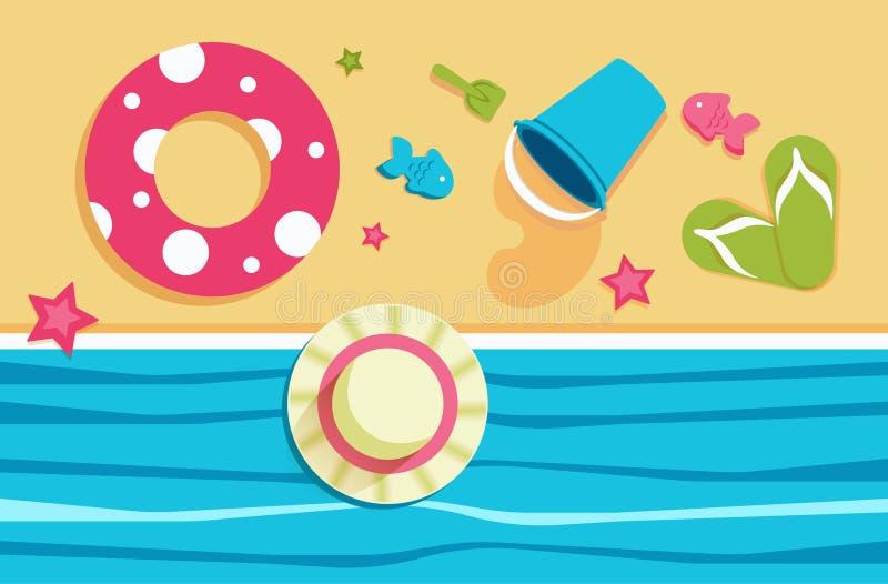 Férias de verão na praia com brinquedos das crianças ilustração do vetor