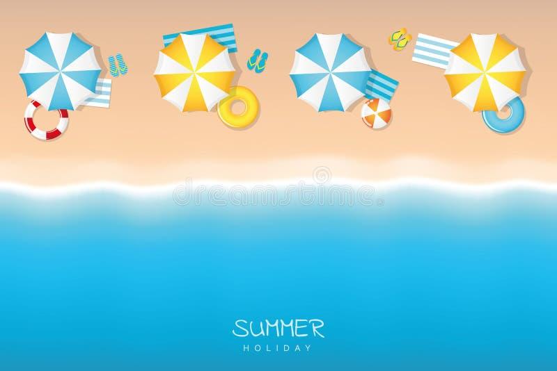 Férias de verão na praia do turista com anel da nadada do guarda-chuva e falhanço de aleta