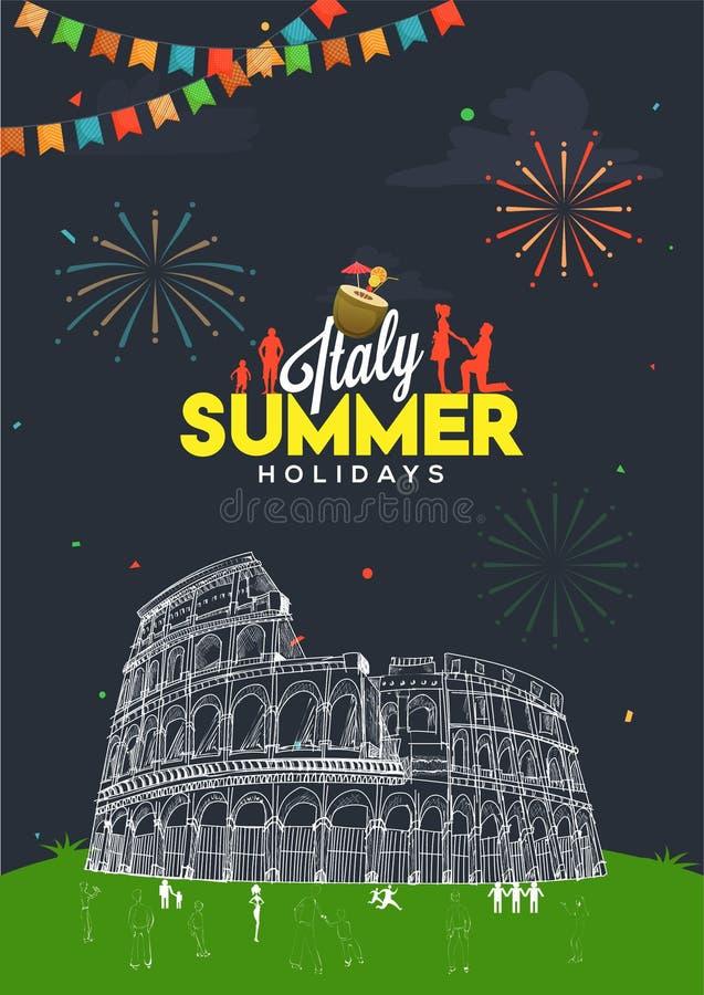Férias de verão no conceito de Itália com ilustração da garatuja do peo ilustração stock