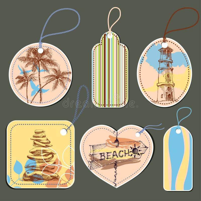 Férias de verão, praia e etiquetas marinhas ilustração stock