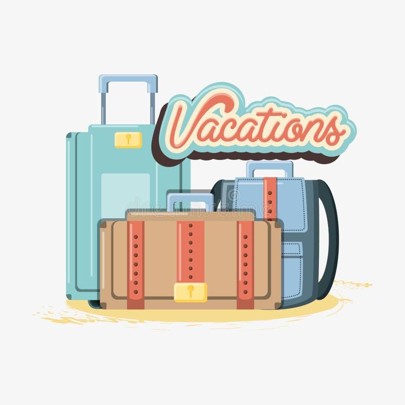 Férias do curso com malas de viagem ilustração do vetor