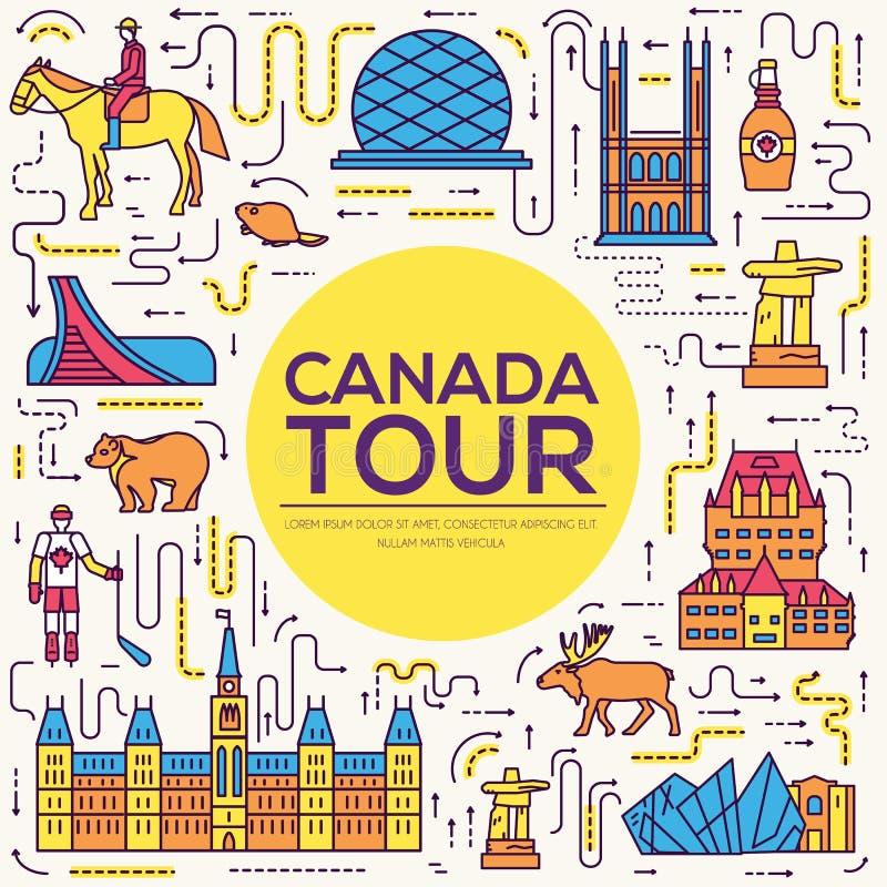 Férias do curso de Canadá do país infographic do lugar e da característica Ajuste da arquitetura, forma, pessoa, artigo, engodo d ilustração royalty free