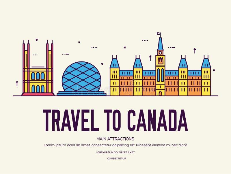Férias do curso de Canadá do país do lugar e da característica Grupo de arquitetura, artigo, conceito do fundo da natureza Infogr ilustração do vetor