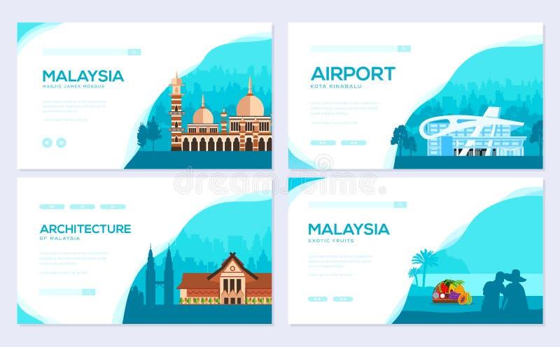 Férias do curso de Malásia do país do lugar e da característica Grupo de cartão tradicional do folheto da arquitetura Molde o do  ilustração stock