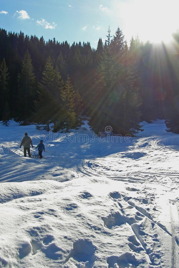 Férias do inverno da família foto de stock royalty free
