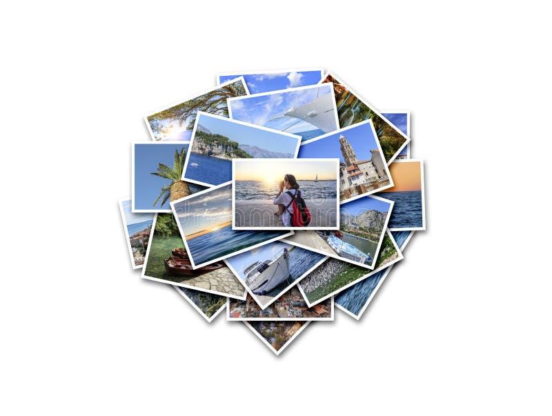 Férias do mar, curso e lugares interessantes no verão Colagem das fotos no fundo branco imagem de stock