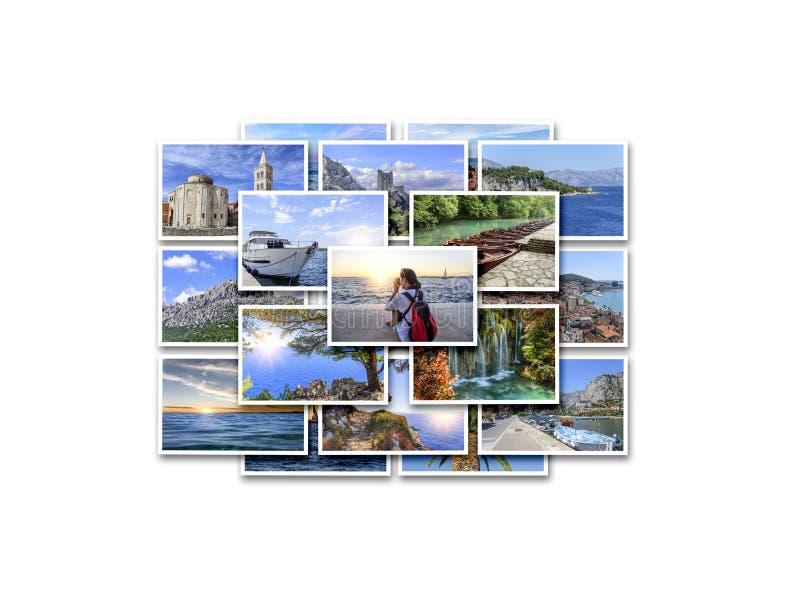 Férias do mar, curso e lugares interessantes no verão Colagem das fotos no fundo branco fotos de stock