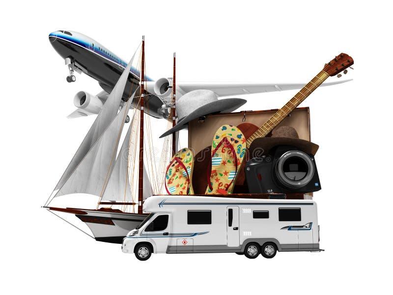 Férias do turista do conceito no verão pelo barco ou pelo carro plano para o resto 3d para não render no fundo branco nenhuma som ilustração do vetor