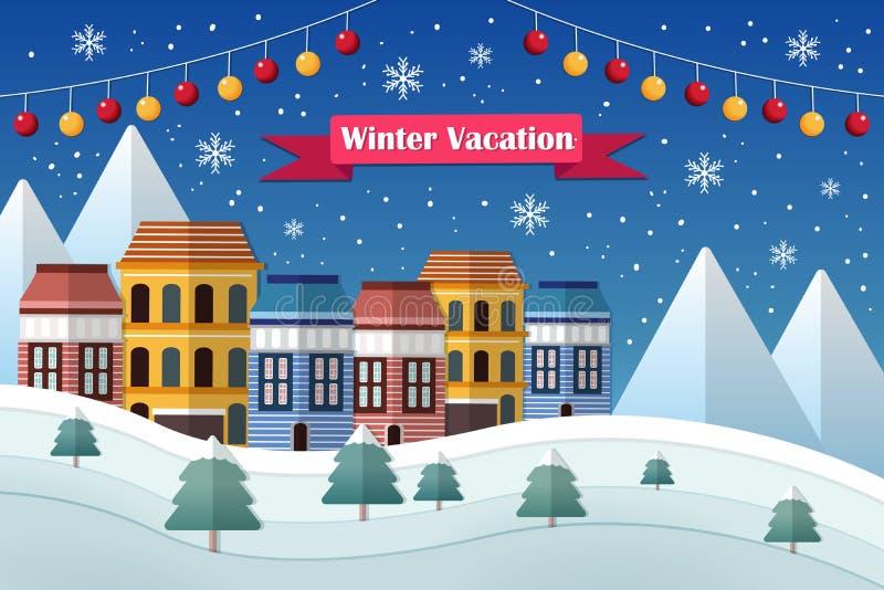 Férias e paisagem do inverno ilustração do vetor