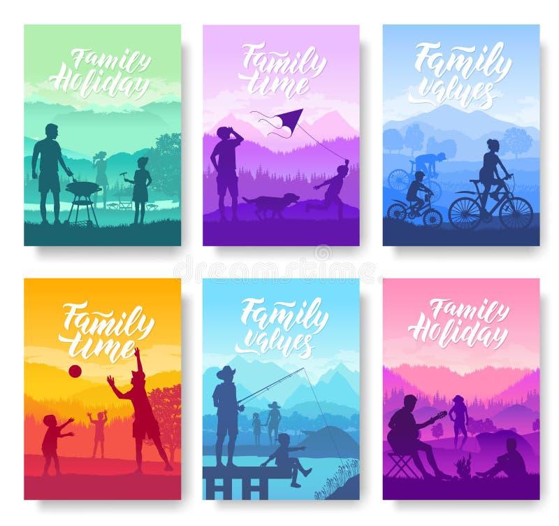 Férias em família com as crianças no grupo de cartões do folheto da natureza Molde amigável de flyear, compartimentos dos recurso ilustração royalty free