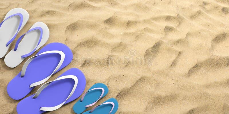 Férias em família do verão Falhanços de aleta no Sandy Beach, vista superior, espaço da cópia ilustração 3D ilustração stock