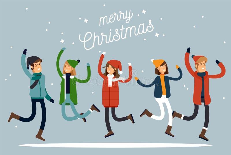 Férias felizes do inverno Povos calorosamente vestidos no salto Vocação alegre dos chrismas Ilustração do vetor ilustração stock