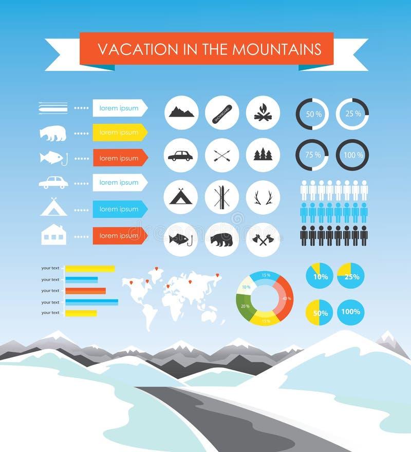 Férias no infographics das montanhas ilustração royalty free